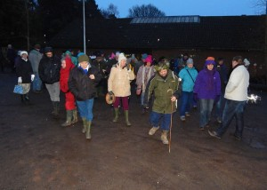 Wassail 2016, walk to the Orchard 16-1-16
